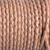 Bruin Rondgevlochten leer naturel 3mm - prijs per 20cm