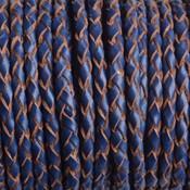 Blauw Rondgevlochten leer navy blauw 3mm - prijs per 20cm