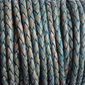 Turquoise Rondgevlochten leer vintage sea blue 3mm - prijs per 20cm
