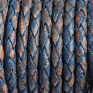 Blauw Rondgevlochten leer vintage petrol 3mm - prijs per 20cm