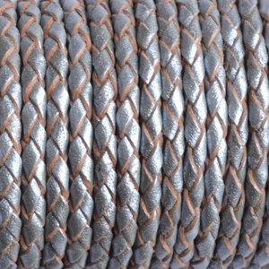 Zilver Rondgevlochten leer metallic silver 3mm - prijs per 20cm