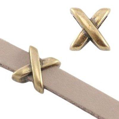 Antiek Goud Brons Leerschuiver X Ø5x2mm Brons DQ