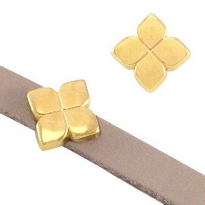Goud Leerschuiver bloem Ø5x2mm Goud DQ