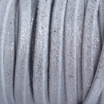 Zilver Plat leer vintage silver 3x2mm - prijs per 10cm