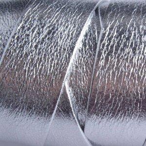 Zilver Plat leer zilver metallic 20x2mm - prijs per cm