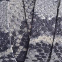 Grijs Plat leer grijs zwart python 20x2mm - prijs per cm