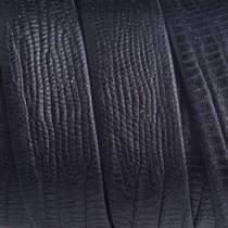 Zwart Plat leer zwart reptiel 20x2mm - prijs per cm