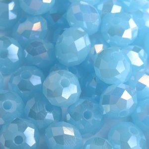 Blauw Facet rondel aqua opaal AB 6x4mm - 45 stuks