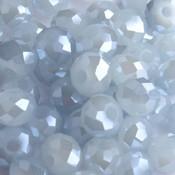 Grijs Facet rondel licht blauw shine 6x4mm - 45 stuks