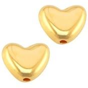 Goud Kraal hart metaal Goud DQ 6mm