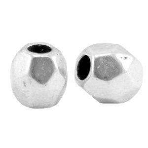 Zilver Kraal metaal facet rond Zilver DQ 4mm