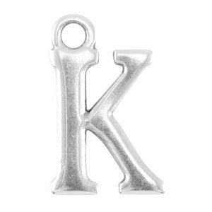 Zilver Bedel letter 'K' Zilver DQ 16x10mm