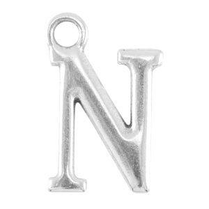 Zilver Bedel letter 'N' Zilver DQ 15x10mm