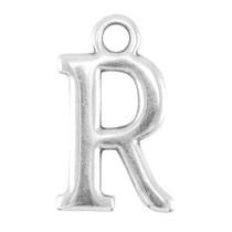 Zilver Bedel letter 'R' Zilver DQ 15x9mm