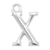 Zilver Bedel letter 'X' Zilver DQ 16x10mm