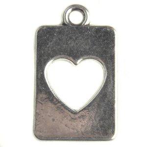 Zilver Bedel tag hart Zilver 20mm - 5 stuks