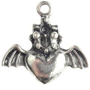 Zilver Bedel hart vleugels kroon zilver 23mm - 3st