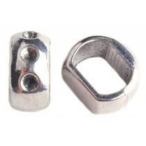 Zilver Leerschuiver Ø10x6mm Zilver 15x8mm