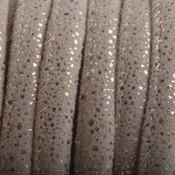 Bruin Imitatie Leer Sand Gold spikkels 6x4mm - prijs per 20cm
