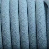 Blauw Imitatie Leer Licht Blauw 6x4mm - prijs per 20cm