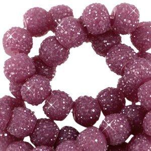 Paars Sparkling beads Aubergine purple 8mm - 10 stuks