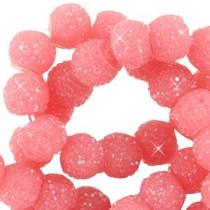 Roze Sparkling beads Dark rouge pink 8mm - 10 stuks
