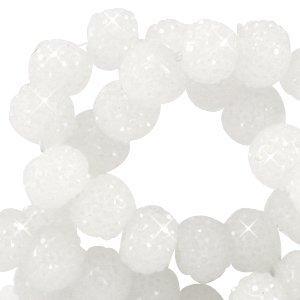 Wit Sparkling beads wit 8mm - 10 stuks