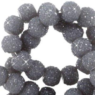 Grijs Sparkling beads Donker grijs 8mm - 10 stuks