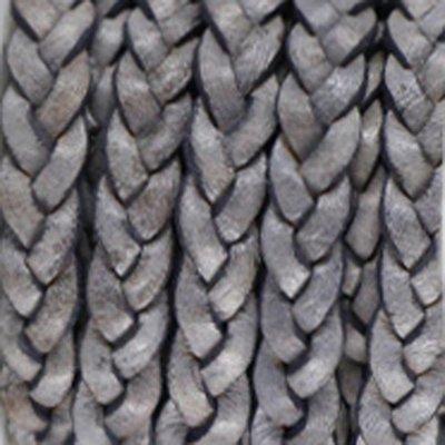 Grijs Plat gevlochten leer Natural grey 5x2.5mm - prijs per 20cm