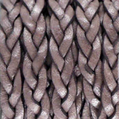 Bruin Plat gevlochten leer vintage Dark chocolate brown 5x2.5mm - prijs per 20cm