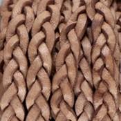 Bruin Plat gevlochten leer Cream tan brown 5x2.5mm - prijs per 20cm