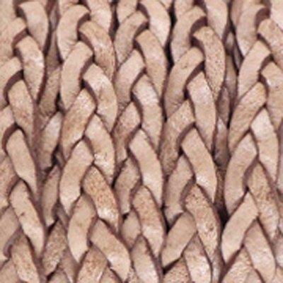 Bruin Plat gevlochten leer Desert beige brown 5x2.5mm - prijs per 20cm