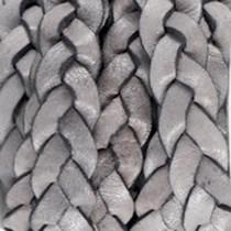 Grijs Plat gevlochten leer vintage Medium grey 10x2.5mm - prijs per 20cm