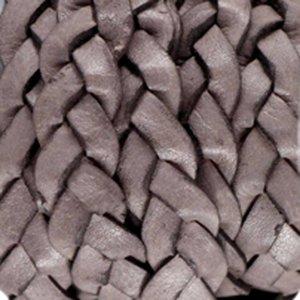 Bruin Plat gevlochten leer vintage Dark chocolate brown 10x2.5mm - prijs per 20cm