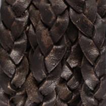 Zwart Plat gevlochten leer antique Black 10x2.5mm - prijs per 20cm