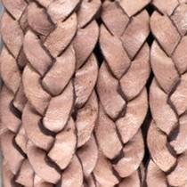 Roze Plat gevlochten leer vintage Medium earth rose brown 10x2.5mm - prijs per 20cm