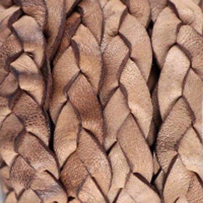 Bruin Plat gevlochten leer Cream tan brown 10x2.5mm - prijs per 20cm
