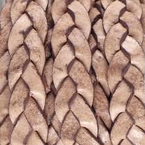 Bruin Plat gevlochten leer Desert beige brown 10x2.5mm - prijs per 20cm
