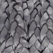 Grijs Plat gevlochten leer vintage Dark grey 10x2.5mm - prijs per 20cm