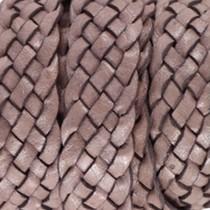 Bruin Plat gevlochten leer Taupe brown 20x2.5mm - prijs per 20cm