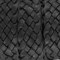 Zwart Plat gevlochten leer Black 20x2.5mm - prijs per 20cm