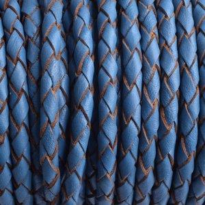 Blauw Rondgevlochten leer jeans blauw 4mm - prijs per 10cm