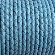 Blauw Rondgevlochten leer licht blauw 4mm - prijs per 20cm