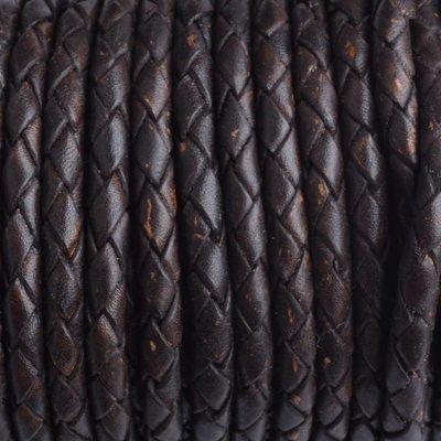 Bruin Rondgevlochten leer vintage donker bruin 4mm - prijs per 20cm