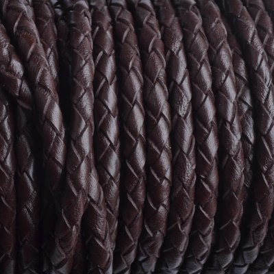 Bruin Rondgevlochten leer donker bruin 4mm - prijs per 20cm