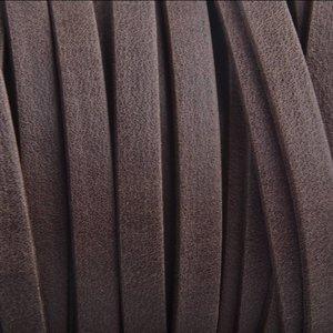 Bruin Plat leer suede bruin mat 5mm - prijs per cm