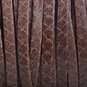 Bruin Plat leer bruin snake 5mm - prijs per cm