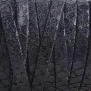 Zwart Plat leer zwart snake 5mm - prijs per cm