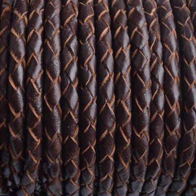 Bruin Rondgevlochten leer donker bruin naturel randen 4mm - prijs per 20cm