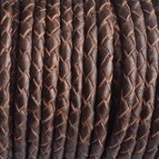 Bruin Rondgevlochten leer bronze 4mm - prijs per 20cm